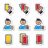 foto of offside  - Football or soccer yellow and red card icons set - JPG