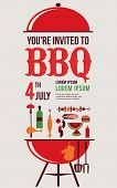 stock photo of bbq party  - HAPPY independence day of America card or invitation template - JPG