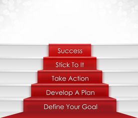 stock photo of stairway  - Five step to success concept which include goal - JPG