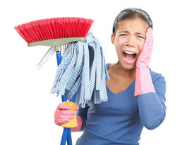 stock photo of house cleaning  - Spring cleaning despair  - JPG