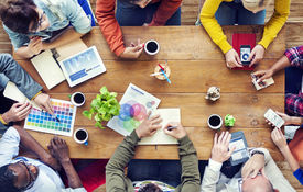 image of messy  - Group of Multiethnic Designers Brainstorming - JPG