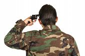 pic of veterans  - distraught military soldier veteran ptsd holding a gun rear view isolated on white - JPG