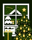 picture of comet  - vector christmas tree and snowy night landscape with comet outside the window - JPG