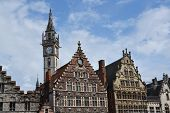 stock photo of old post office  - Historic buildings with the Old Post office tower in Ghent Belgium - JPG