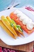 image of mange-toute  - fried salmon and corn on the white plate - JPG