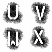 image of letter x  - vector stencil angular spray font letters U V W X  - JPG