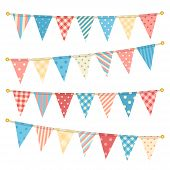 foto of pastel  - Vector triangle bunting flags - JPG