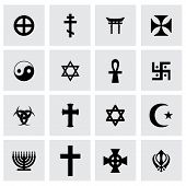 stock photo of pentagram  - Vector religious symbols icon set on grey background - JPG