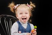 foto of ponytail  - portrait of little girl with ponytail hairstyle - JPG