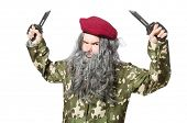 foto of hirsutes  - Funny soldier isolated on white - JPG
