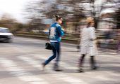 image of zebra crossing  - Busy city street people on zebra crossing - JPG