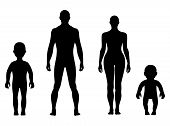 stock photo of outrageous  - Full length front human silhouette vector illustration isolated on white - JPG