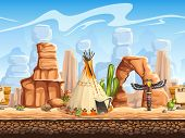 foto of cactus  - vector image of Wild West scenery including a cactus - JPG