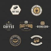 picture of hot dogs  - Fastfood Retro Vintage Labels as Logo design vector template set. Fast Food: Hot dog, Burger, Donut, Coffee, Beer Logotype icons. - JPG