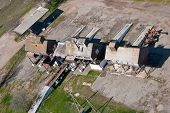 stock photo of elevators  - top view of the old grain elevator for processing - JPG