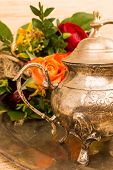 image of pompous  - metal teapot in bronze for coffee and tea  - JPG