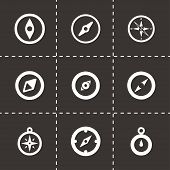 image of longitude  - Vector compass icon set on black background - JPG