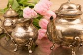 picture of pompous  - antik table set with pink tulips in detail - JPG