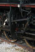 stock photo of steam  - Old black steam locomotive - JPG