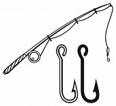 image of hook  - Fishing rod and fishing hook - JPG