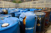 foto of toxic substance  - Several barrels of toxic waste at the dump