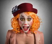 picture of clown face  - Clown makes funny faces to make laugh - JPG