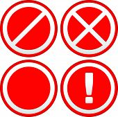 Постер, плакат: Set Of Different Prohibition Warning Signs Road Signs European No Parking No Entry Signs And Si