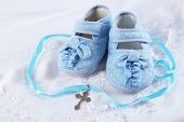 image of christening  - Baby shoe and cross for Christening - JPG