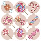 stock photo of lollipop  - Yummy colorful sweet lollipop candy cane isolated set - JPG
