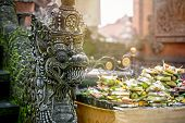 picture of hindu-god  - Statues of Hindu God or demons with offerings - JPG
