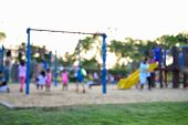 picture of playground  - Colorful playground with children and parents in park  - JPG