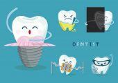 image of dental  - tooth icons set of dental vector Illustrator - JPG