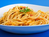 pic of carbonara  - Spaghetti carbonara served in a plate shot from below - JPG