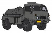picture of tank truck  - Hand drawing of an old small terrain military tank truck  - JPG
