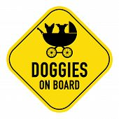 foto of baby dog  - Dogs silhouette illustration inside baby stroller on yellow placard signshowing the words doggies on board isolated on white background - JPG