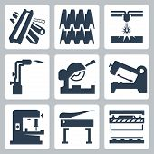 image of guillotine  - Metal cutting and metal products icon set over white - JPG
