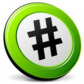picture of hashtag  - illustration of hashtag 3d icon on white background - JPG