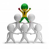 stock photo of human pyramid  - 3d small people standing on each other in the form of a pyramid Sao Tome and Principe - JPG