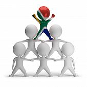 stock photo of human pyramid  - 3d small people standing on each other in the form of a pyramid with the top leader South Africa - JPG