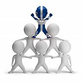 stock photo of human pyramid  - 3d small people standing on each other in the form of a pyramid with the top leader Martinique - JPG
