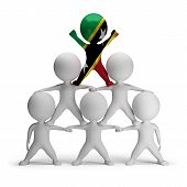 image of human pyramid  - 3d small people standing on each other in the form of a pyramid with the top leader Saint Kitts  - JPG