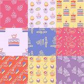 Постер, плакат: Set of seamless patterns cakes sweets cupcakes