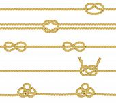 image of node  - Knitted and associated twisted ropes twines with nodes realistic color decorative border set isolated vector illustration - JPG