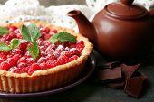 pic of teapot  - Tart with fresh raspberries and teapot - JPG