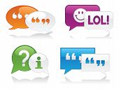 picture of quotation mark  - Vibrantly colored glossy chat bubbles with drop shadows - JPG