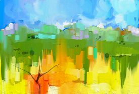 picture of green-blue  - Abstract colorful oil painting landscape on canvas - JPG