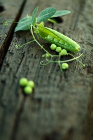 stock photo of pea  - open green peas on old wood - JPG