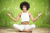 Young Afro Girl Meditating. poster