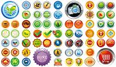 Big Collection of brightly colored web elements or sticker for products - graphic illustration. Set