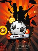 Soccer ball with crowd silhouettes of sport fans. Vector Football background with space for text